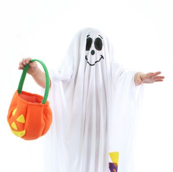 Child dressed as ghost
